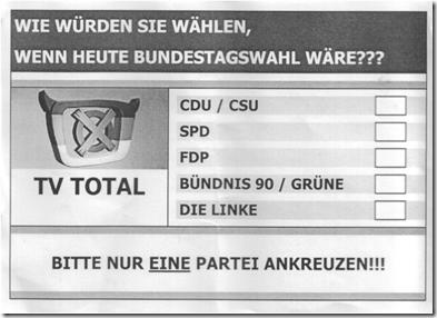 TV Total Wahlzettel