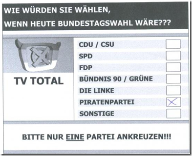 Demokratisierter TV Total Wahlzettel